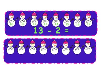Count Back to Subtract! Winter Snowmen Subtracting