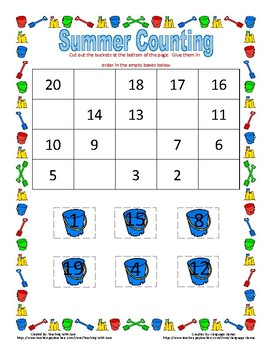 Summer Missing Numbers: Backwards from 20!