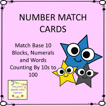 Count By 10s Number Match Cards - Words, Numerals and Base 10 to 100