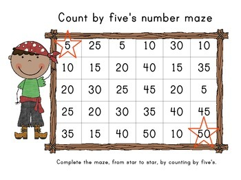 Count By Five's Pirate Themed Number Mazes