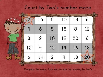 Count By Two's Pirate Themed Number Mazes