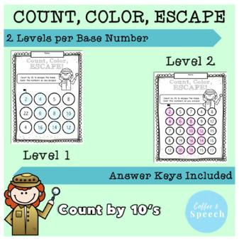 Count, Color, Escape! Count by 10's