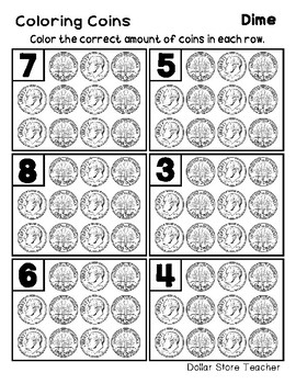 Count & Color Money / Coin Work Sheets - Penny Dime Quarter Nickel