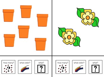 Count, Color and Name Plants Adapted Book for Preschool and Kindergarten