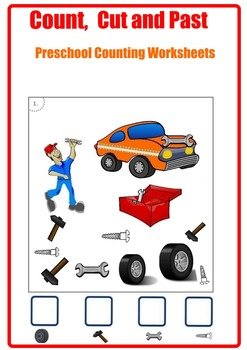 Count, Cut and Past. Counting Worksheets.