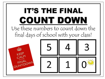 Count Down the Final Days of School by Teacher's Brain