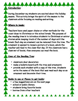 Count Down to Christmas Reading Tree