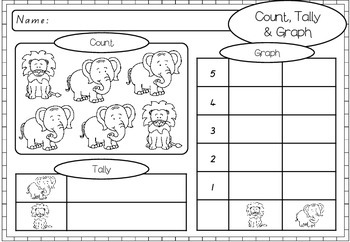 Count, Graph & Tally - Zoo Animal Worksheets
