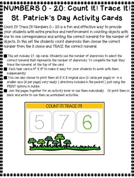 Count It Trace It! Counting Shamrocks and Writing Numerals * St. Patricks Day