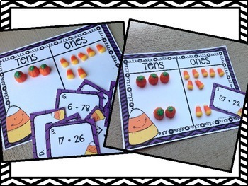 Count It Up Candy Corn - Addition with Regrouping Task Cards