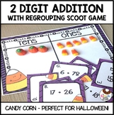 Candy Corn 2 Digit Addition with Regrouping Task Cards Scoot Game