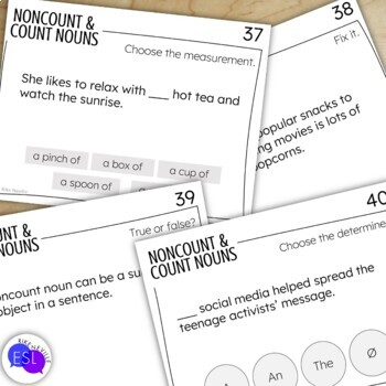 Count & Noncount Nouns (Task Cards)