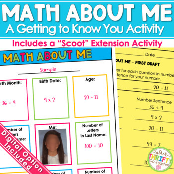 Math About Me Back to School Activity - First Week of School