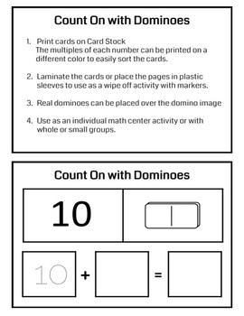 Count On with Dominoes Task Cards