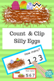 Count & Clip Silly Eggs  1-10,colorful eggs birds nest, Nu