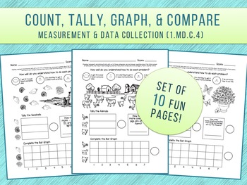 Count, Tally, Graph Common Core 1.MD.C.4 First Grade Worksheets  (Set of 10)