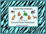 Animals  Cut and Paste Math Center Special Education Autism Kindergarten