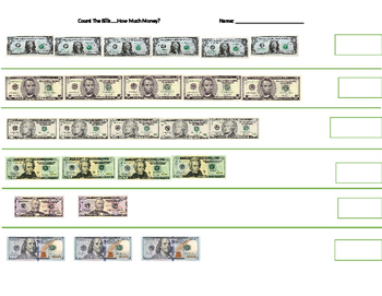Count The Bills Worksheet