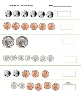 Count The Coins Worksheet