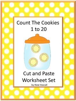 Count to 20 Cookies Cut and Paste Printable Math Center Activity