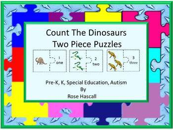 Dinosaurs Two Piece Puzzle Counting Activities Fine Motor Skills, Math Centers