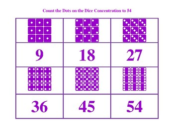 Count  The Dots on the Dice to 54 Purple Game