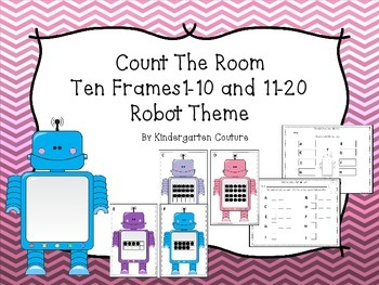 Count The Room Ten Frames 1-10 and 11-20 Robot Theme