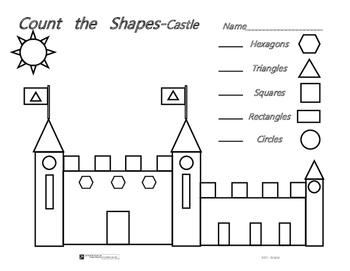 Count The Shapes - Common Core - Castle & Train