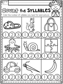 Count The Syllables ~ Introductory Phonics and Pre-Reading Skills ~ Printables