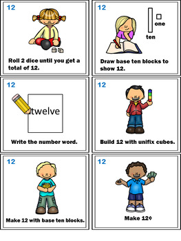 Number Sense Activity - Math Task Cards - Count, Think & Move with 12