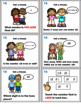 Number Sense Activities - Math Task Cards - Count, Think & Move with Number 18