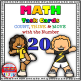 Number Sense Activities - Math Task Cards - Count, Think & Move with Number 20