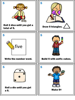 Number Sense Activities - Math Task Cards - Count, Think & Move with Number 5