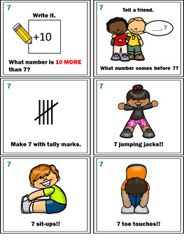 Number Sense Activities - Math Task Cards - Count, Think & Move with Number 7