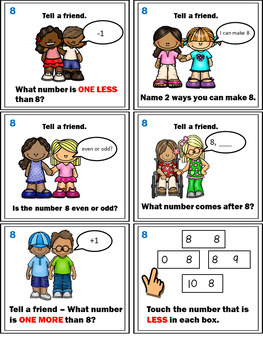 Number Sense Activities - Math Task Cards - Count, Think & Move with Number 8