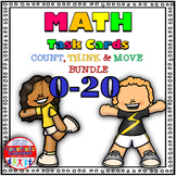 Number Sense Activities -  Math Task Cards - Count, Think & Move 0-20 Bundle
