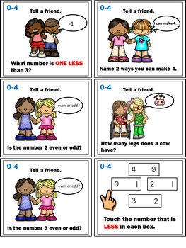 Number Sense Activities - Math Task Cards - Count, Think & Move with Numbers 0-4