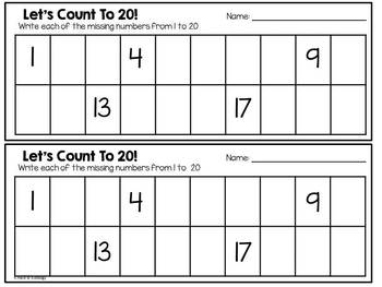 Count To 20 - Numbers and Counting Center and Activity