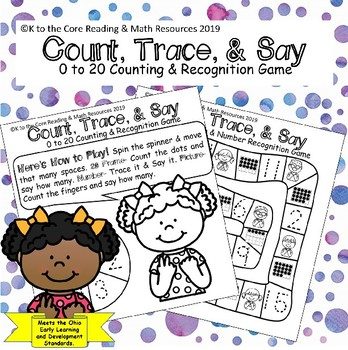 Count Trace & Say: 0 to 20 Counting & Recognition Game