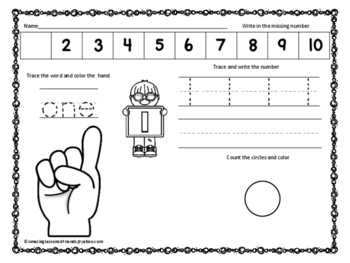 Count Trace and Write Numbers 1 to 10