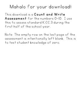 Count & Write Math Assessment 0-10