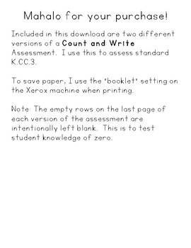 Count & Write Math Assessment 0-20