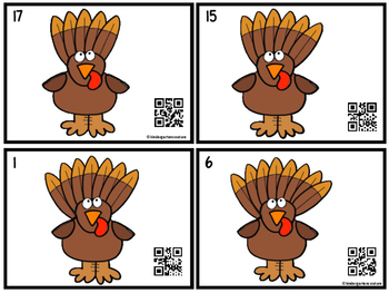 Count, Write & Scan Turkey Feathers 1-20