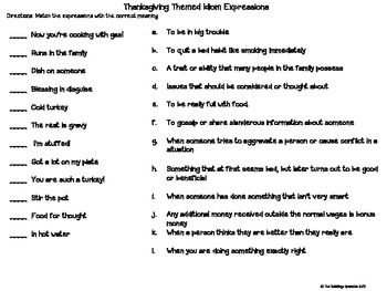 Count Your Blessings Thankgiving Themed Figurative Language Activities