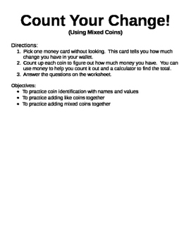 Count Your Change:Using Different Coins_Center Activity