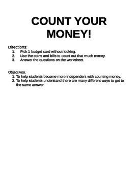 Count Your Money! Center Activity