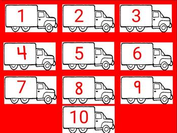 Count and Build Truck Mats 1-10