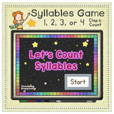 Kindergarten Syllables Game ~*Clap and Count*~   Play in a Tablet Center