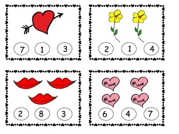 Valentines-Count and Clip 1-10