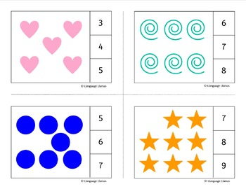 Counting - Count and Clip Cards with shape graphics for Math Centers